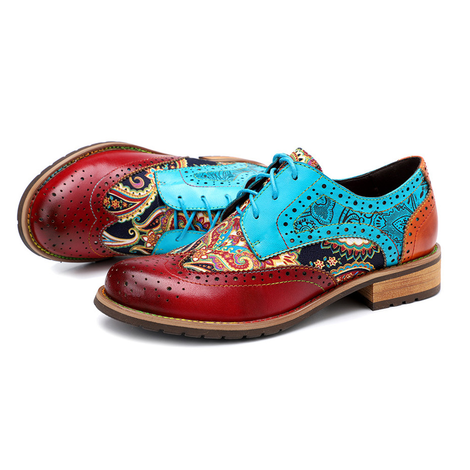2020 New Spring Casual Women Brogues Shoes Handmade Genuine Leather Women Flats Oxfords Shoes Retro Carved Lace Up  Lady Oxfords (5)