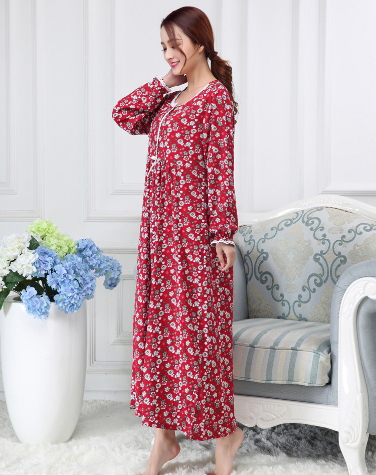 Spring Autumn Ladies Long Sleeved 100% Cotton Loose Long Sleepwear Nightgown Homedress Lounge Intimate Lingerie Casual Homewear
