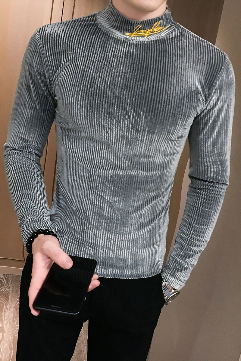 British Style Men T Shirt Autumn New Knitted T-Shirts Mens Long Sleeve Streetwear Slim Fit Casual Turtleneck Bottom Tees Shirts
