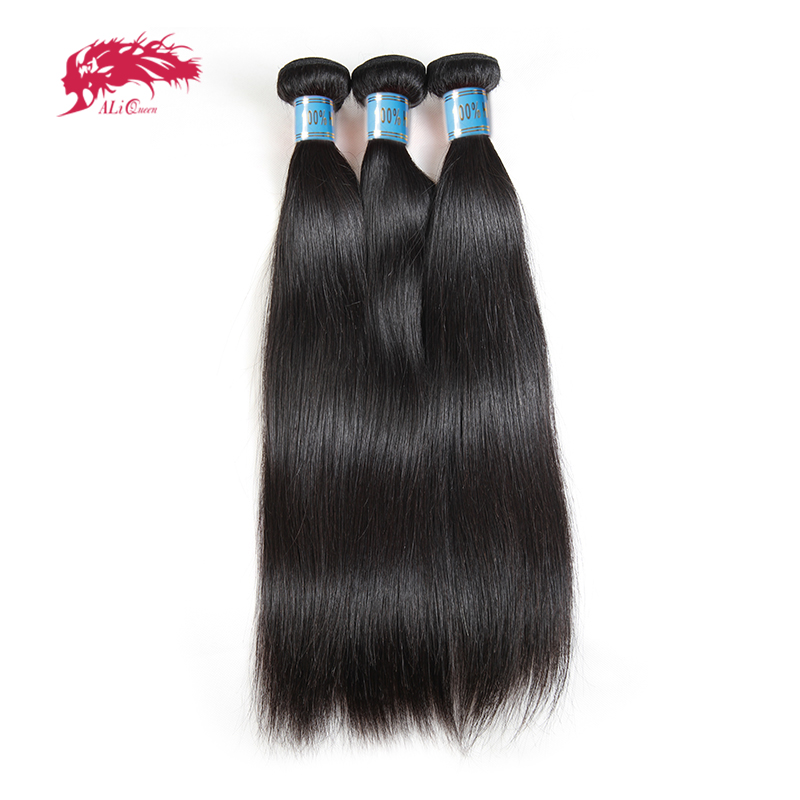 "Ali Queen Hair Peruvian Straight Hair Bundles 100% Human Hair Extensions Natural Color 8""-26"" Virgin Human Hair Weave Bundles"