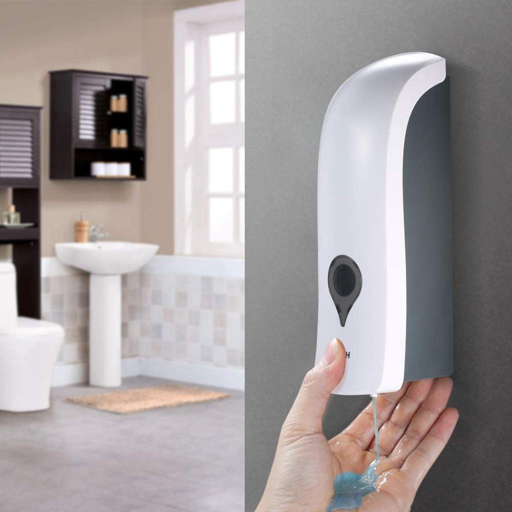 Human - 300ml Self Adhesive Soap Dispenser Wall Mounted Manual Soap Dispenser Bathroom Shower Gel Liquid Shampoo Dispenser Holder