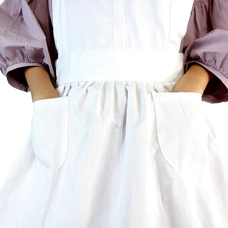 2Pcs Elegant Victorian Apron Maid Overalls Clothing Ruffle Pocket Apron Cafe Apron Kitchen Apron Apron