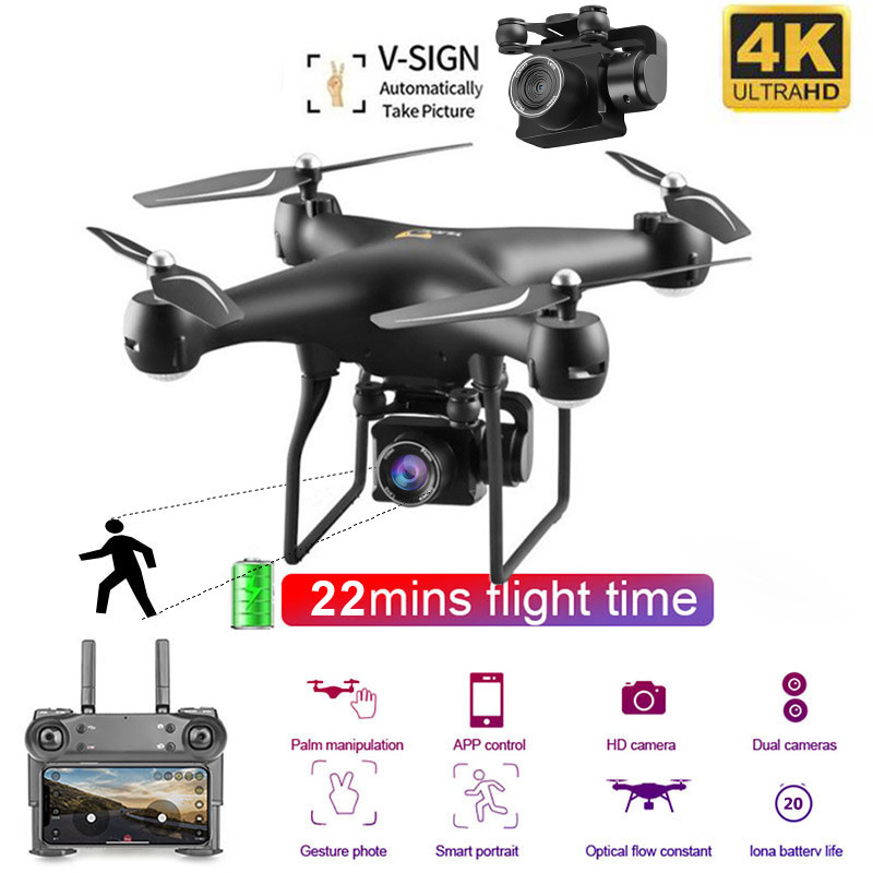 Quadcopter Camera Rc-Drone Flight-Time 4K Best HD 25min with Toys Altitude-Hold Headles title=