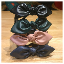 CN Girls Pu Rabbit Ears Knot Headbands Handmade Solid Bow Tooth Hairbands For Women Girl
