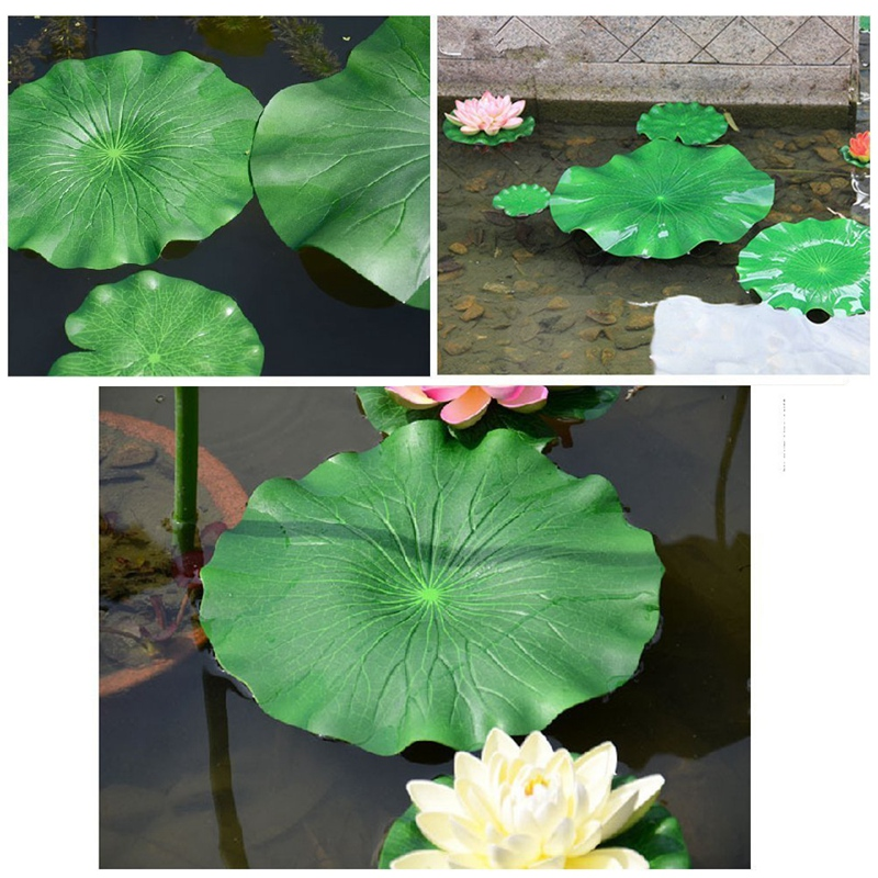 11Pcs Artificial Floating Plants Water Lily Lotus Flower and Leaves Pads for Home Garden Ponds Pool Aquarium Fish Tank Landscape Decoration