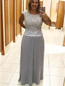 Dresses Weddings Plus-Size Chiffon Elegant Long Silver A-Line