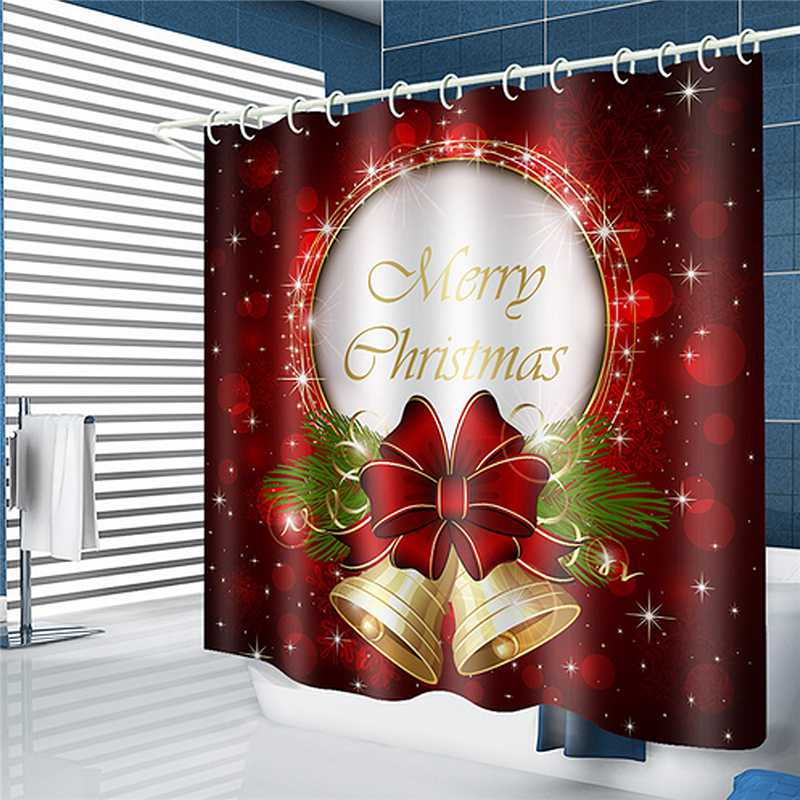 180x180cm Christmas Bowknot Waterproof Shower Curtain Bathroom and 12 Hook RED