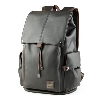 Simple Design Men Casual Daypacks male New Famous Brand Preppy Style Leather School Backpack Bag For College