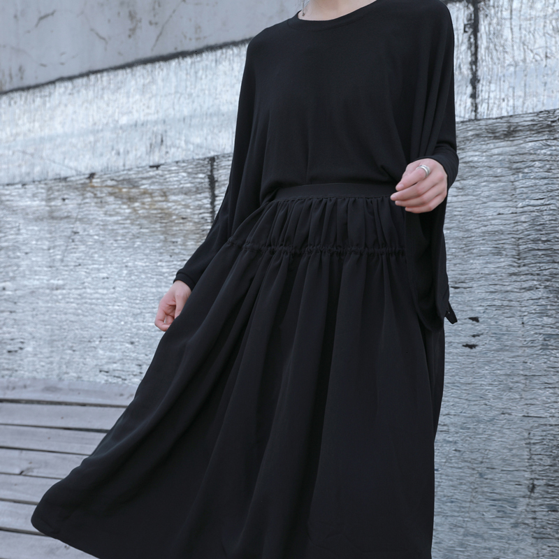 2020 Spring Woman new Solid Black Color Long Loose High Waist Lace Up Drawstring Draped Half-body Skirt All Match