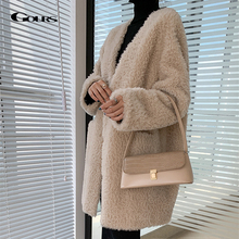 Jackets Shearling Women Overcoats Natural-Wool Real-Fur Winter Genuine Long Thick GOURS