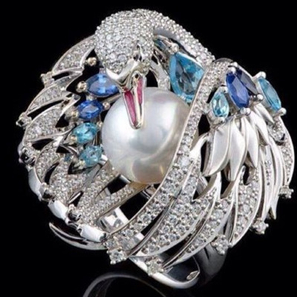 Luxurious Swan Artificial Pearl Vintage Classic Exquisite Lady Ring Jewelry