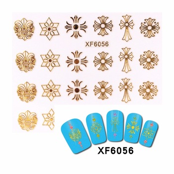YZWLE 1 Sheet DIY 3D Nail Stickers Beauty Hot Gold Rock Punk Style Nail Art Charms Nails Bronzing Decals Decorations Tools  6056