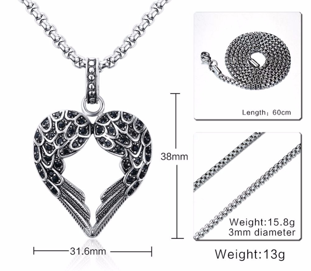 Fashion Punk Mens Necklaces Pendant Stainless Steel Black Tone Crystal Guardian Angel Heart Wings_Wing  Necklace Gift for Women Teens Girls Boys colar Choker 18