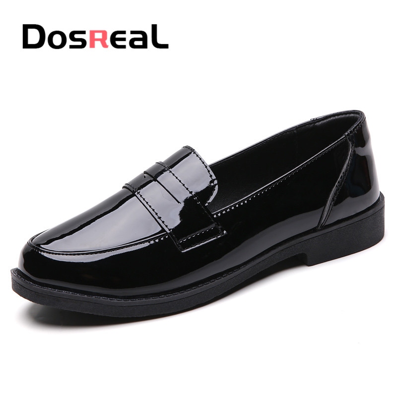 Dosreal Spring Women Shining Flats Loafers Shoes Ladies Patent Leather Casual Slip On Shoes Creepers Flats Moccasins Loafers
