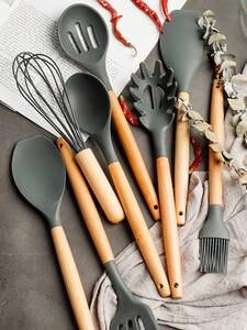 Shovel Spoon Spatula Cooking-Sets Kitchen-Tools Wooden-Handle Soup Non-Stick Heat-Resistant-Design