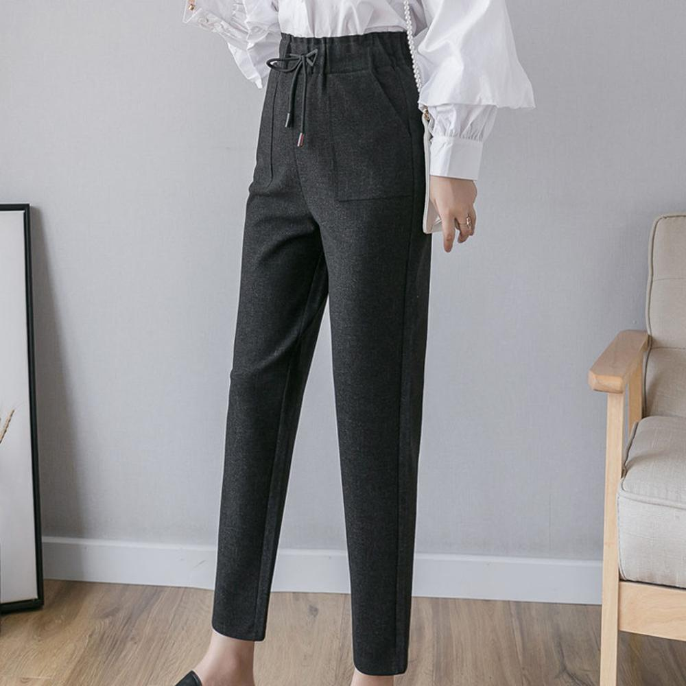 Spring Thicken Women Pencil Pants Plus Size Wool Pants Female Autumn High Waist Loose Trousers Capris Good Fabric Size S-5XL