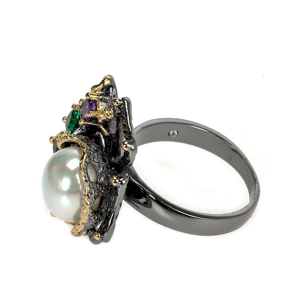 WA11637 pearl flower ring women vintage gothic stone jewelry (3)