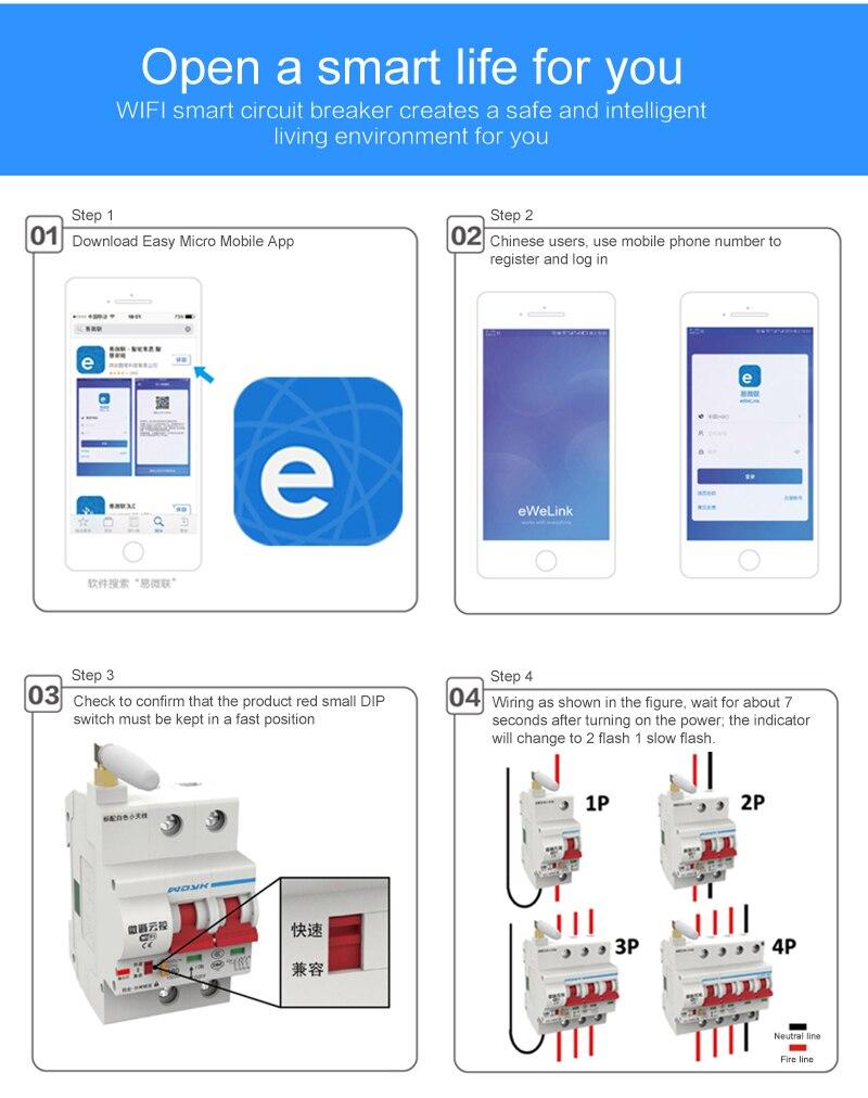 32A 100A Smart Home WiFi Disyuntor WiFi eWelink App Control remoto Trabajar con Alexa Google Home Automation Breaker-3P/_3P 20A 3P 16A 80A