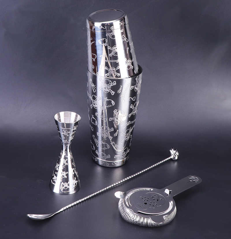 RIP Skull Cocktail Shaker Mixer With Built In Strainer Cocktail Gift 413