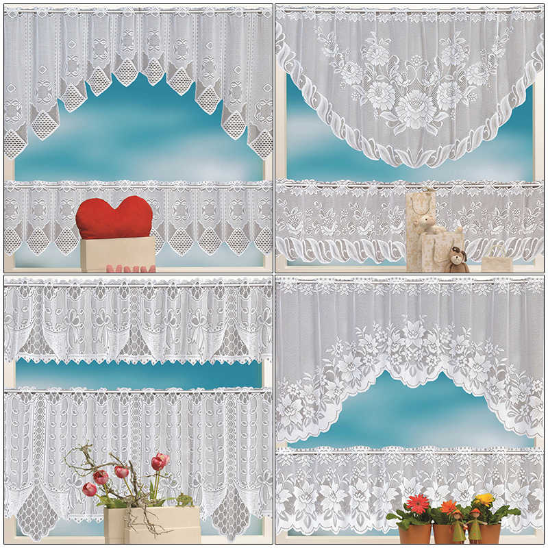 2PCS European White Translucent Coffee Curtain Kitchen Curtain Tulle Lace Sheer Warp Knitted Jacquard Curtains Bedroom Curtains
