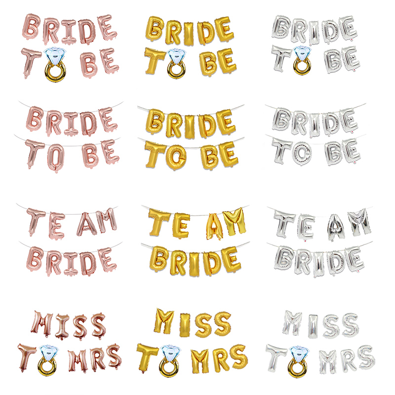 Team Bride Miss To Mrs Bride To Be 16inch Foil Letter Balloons Set for Wedding Party Birdal Shower Hen Night Decoration Supplies