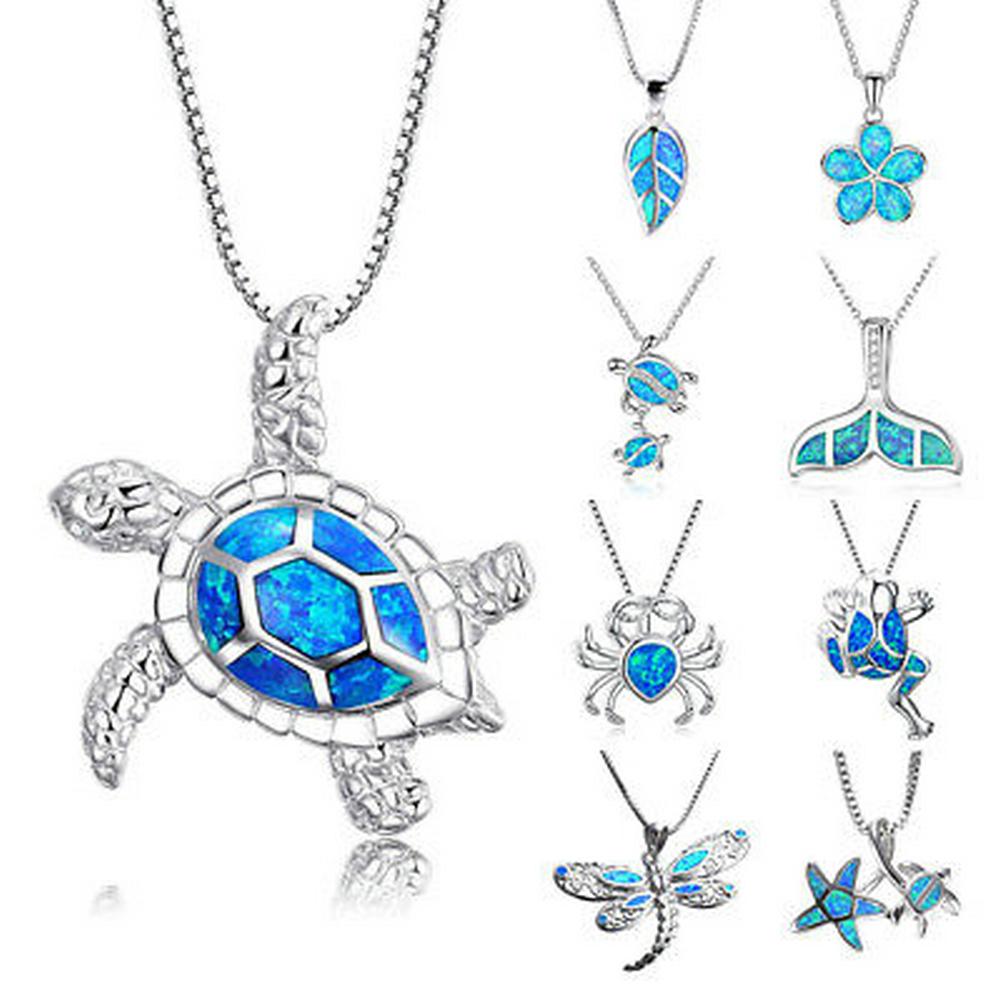 1PCS-Silver-Filled-Blue-Opal-Sea-Turtle-Cutout-Pendant-Women-Necklace-Beach-Gift