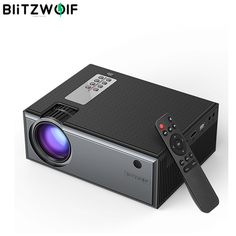 Blitzwolf Projector Remote-Control Theater Portable Smart Home with 2800 1080p-Input title=