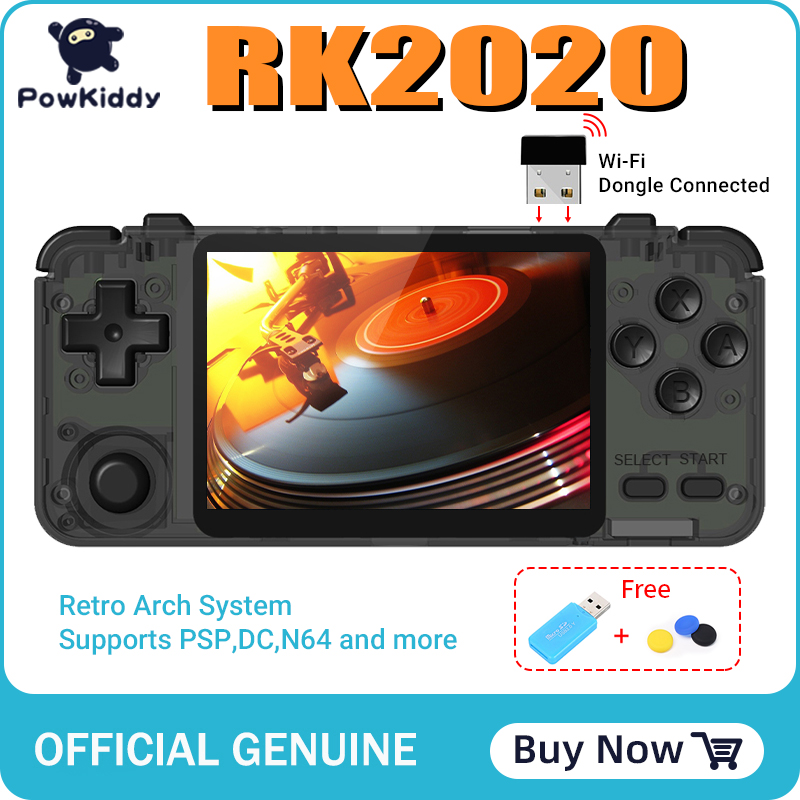 POWKIDDY RK2020 3D games Retro Console 3.5inch IPS screen portable handheld game console PS1 N64 games video game player