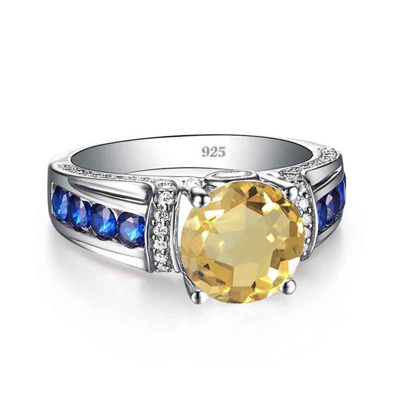 Designer 925 Solid Sterling Silver Grand Genuine Yellow Ring Citrine Yellow Gems Silver Ring