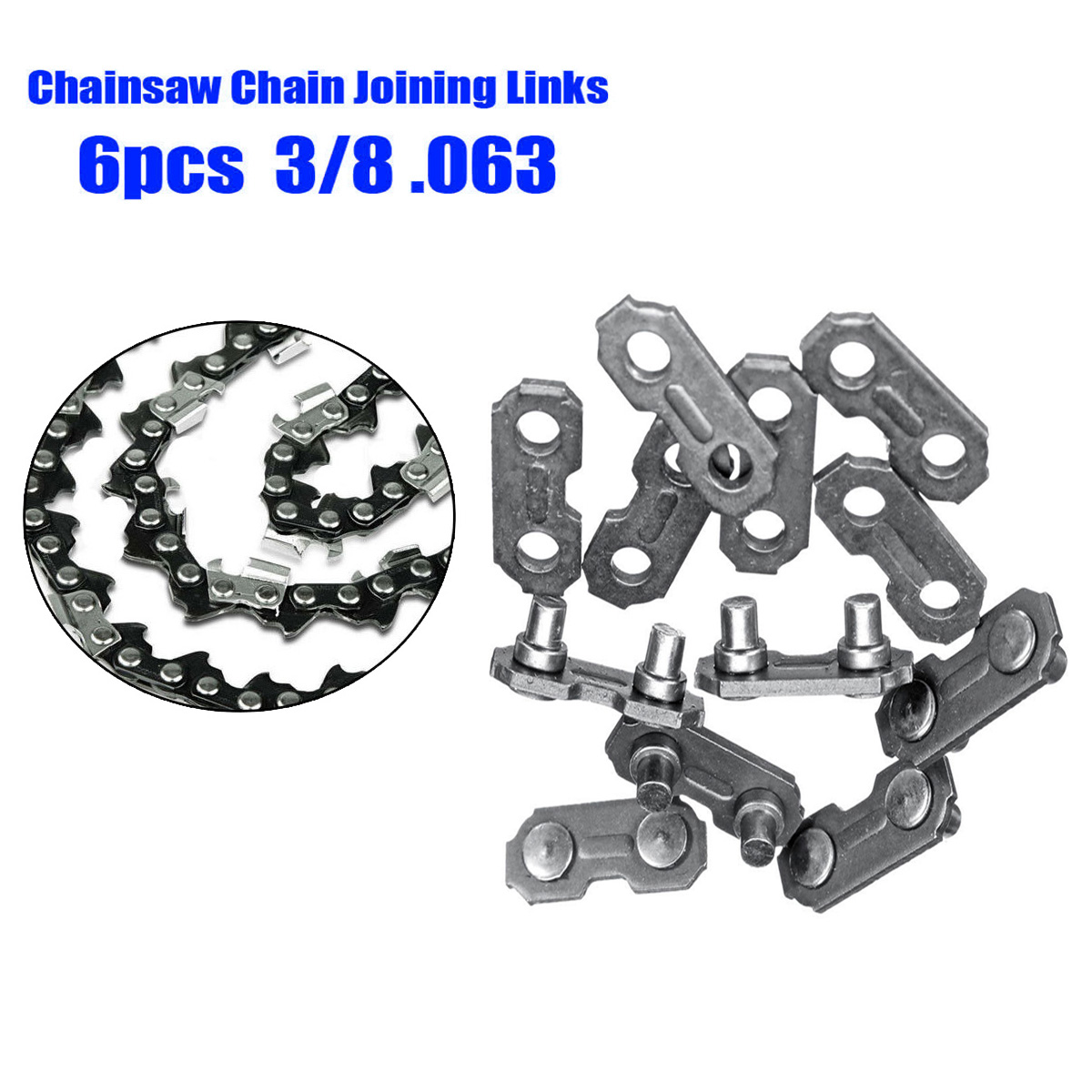 Metal Link Joining Part Tools Replacement 6pcs 3//8 0.063 Steel Chainsaw Chain