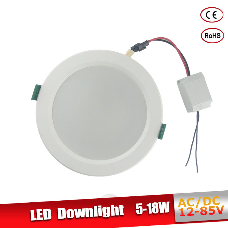 Led Downlight 18W 15W 12W 9W Aluminum Bombillas AC/DC 12V 24V Round Led Ceiling Recessed Grid Down Light 36V 50V Led Light