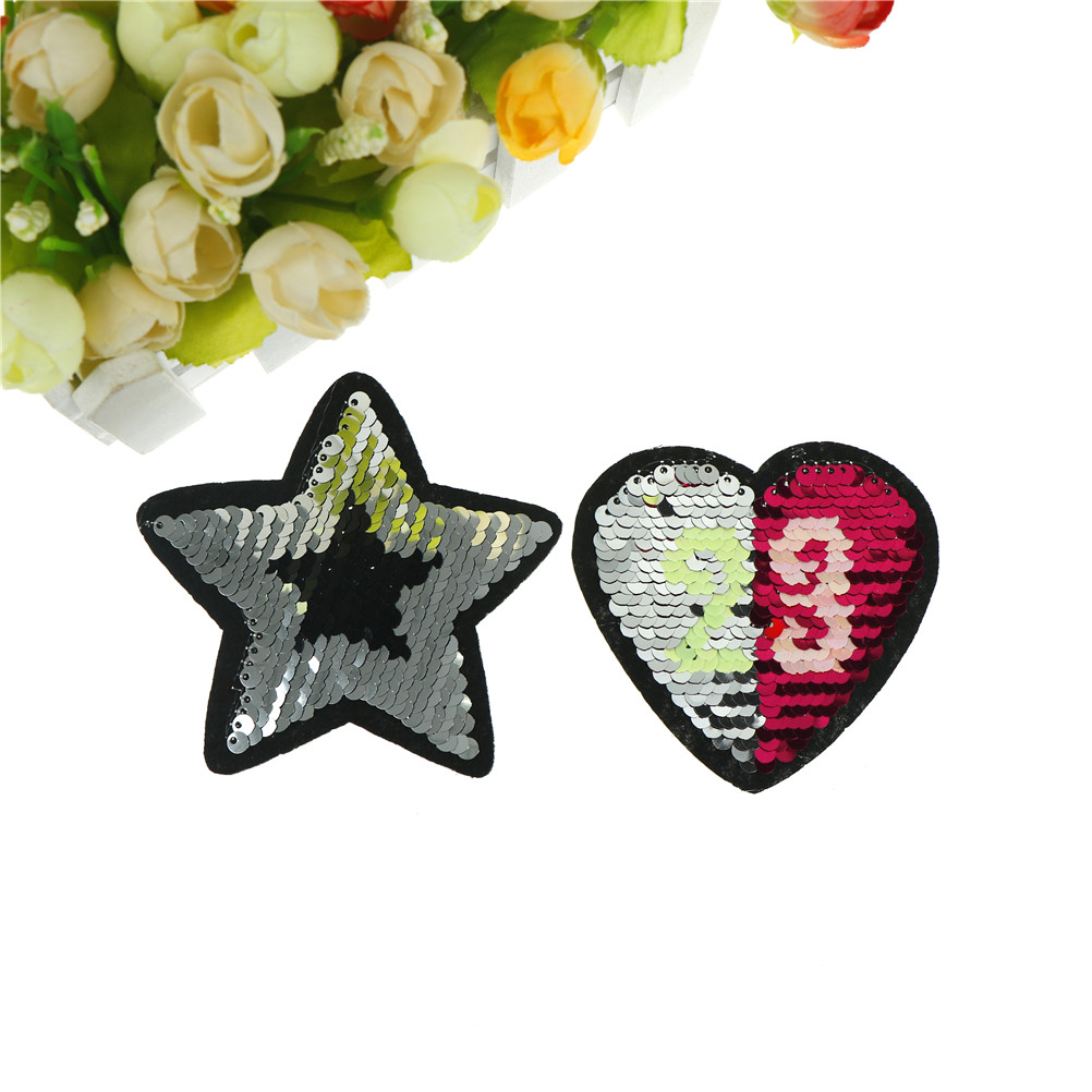 1 PC Patches Clothing Reversible Change Color Sequins tar Love Heart Flip For Clothes DIY Sew On Patch Applique