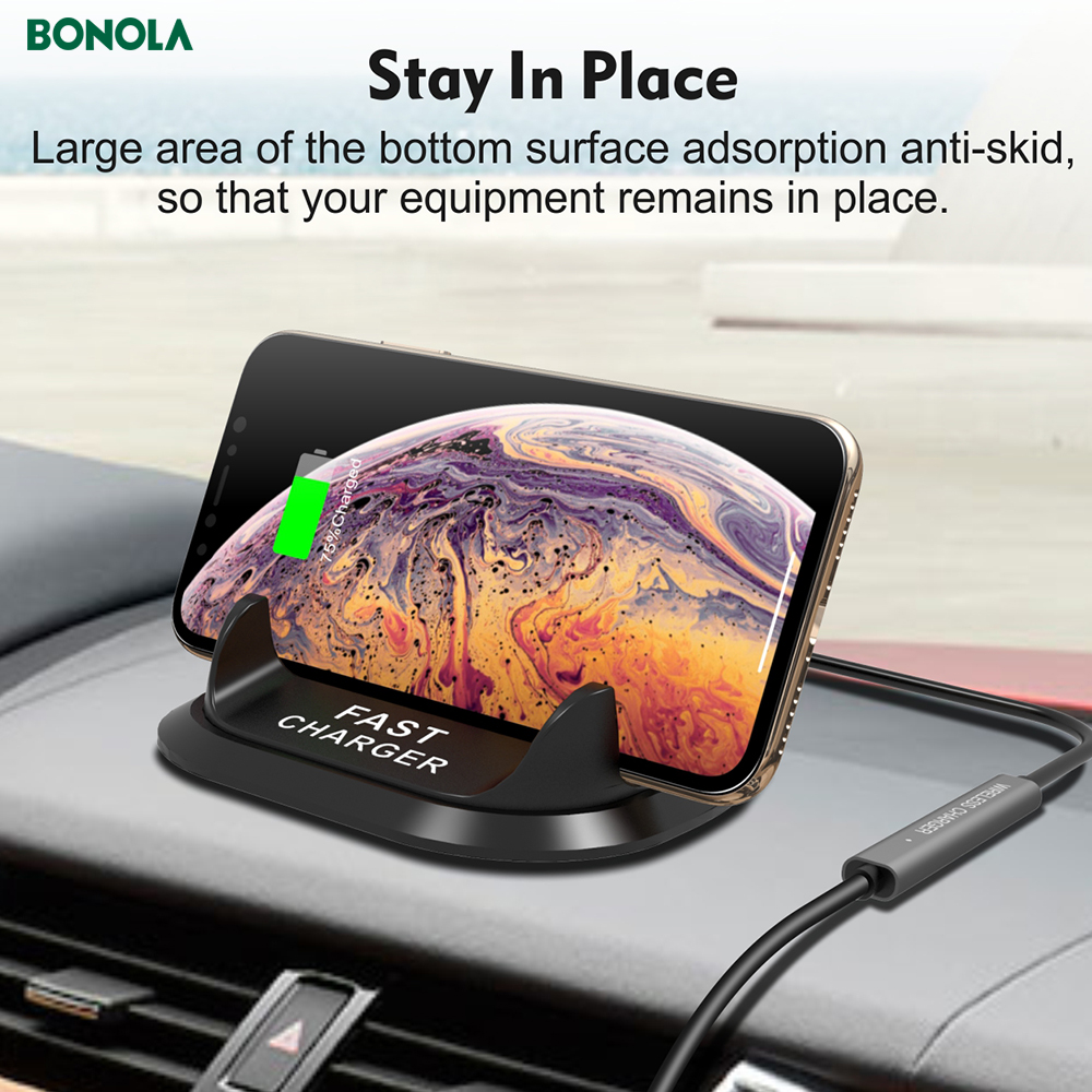 Bonola Fast Wireless Car Charger For iPhone11proXs Coil And PBC Motherboard Separate 10W Qi Car Phone Holder Wireless Charger  (9)