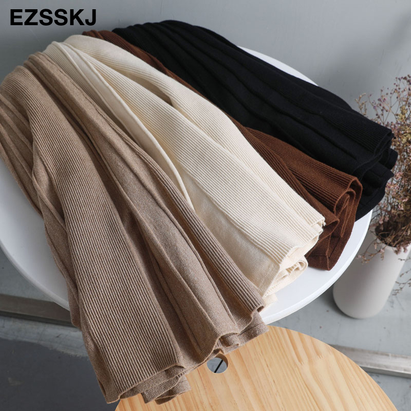Vintage Winter Women thick sweater skirt Elastic High Waist Pleated Midi knitted Skirt A-line female solid elegant Skirts 7
