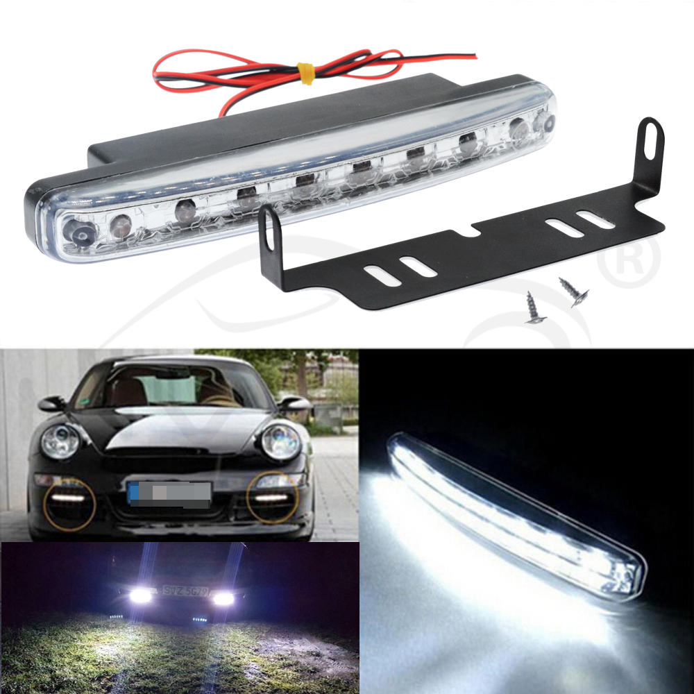 Color:Black Universal 12V 8 x LED Auto Car Daytime Running Lights Fog Lamps Car Driving Light Auxiliary Lamp with Super White Light HOT