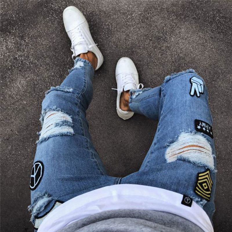2019 New Jeans Mens Cool Designer Brand Black Jeans Skinny Ripped Destroyed Stretch Slim Fit Hop Hop Pants With Holes For Men