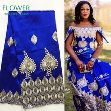 Lace-Fabric Wedding-Dress Silk Traditional Sequined George Royal-Blue Indian High-Quality