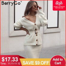 Berrygo Suit Dress-Set Sweater Button-Sashes Knitted Long-Sleeve Pure-Skirt Two-Piece