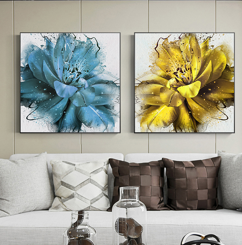 Abstract Blooming Flower Canvas Painting Blue Yellow Prints And Posters For Living Room Modern Decor Expensive Wall Art Picture-40X40Cmx2 No Frame