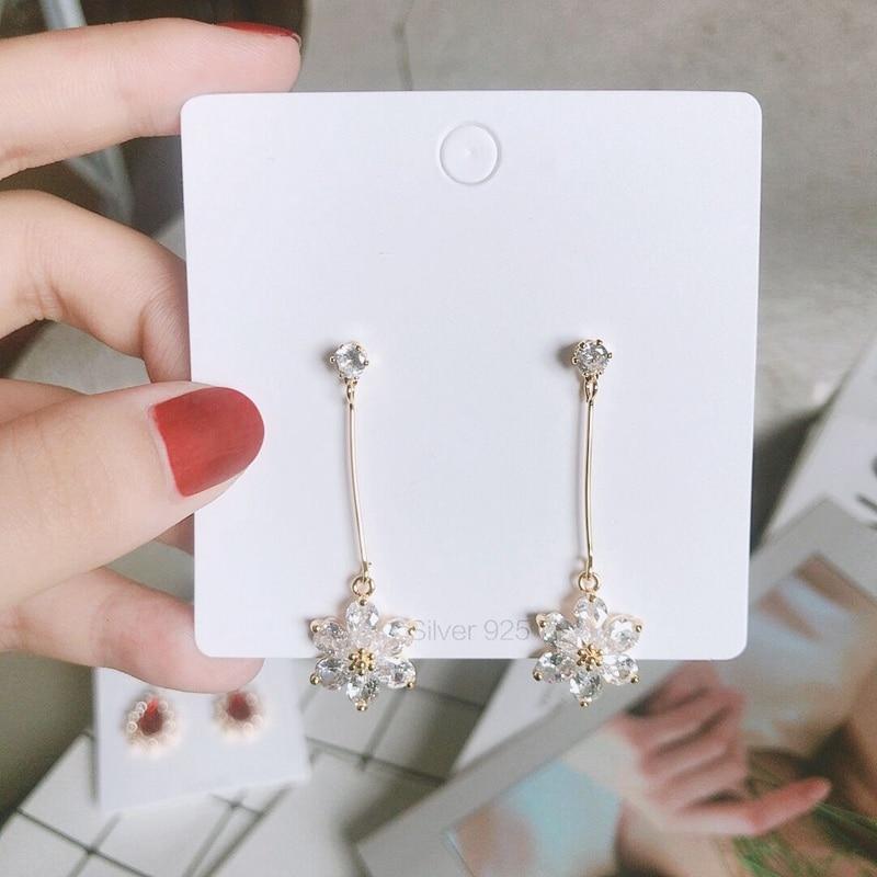 MENGJIQIAO 19 New Korean TV Star Elegant Shiny Rhinestone Drop Earrings For Women Metal Circle Crystal Oorbellen Party Jewery 8