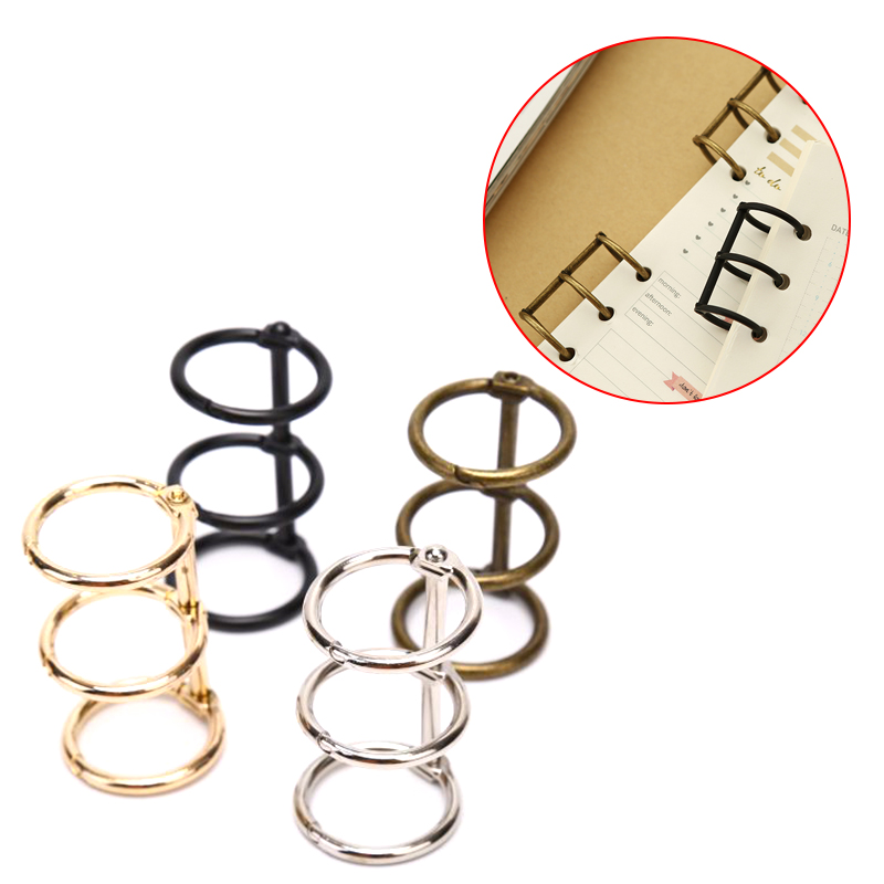 2Pcs Metal Loose Leaf Book Binder 3 Rings For Notebook Album Scrapbook Clips Metal Ring Binder Calendar Circle Stationery Office