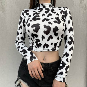 Long-Sleeve Cow-Prin...