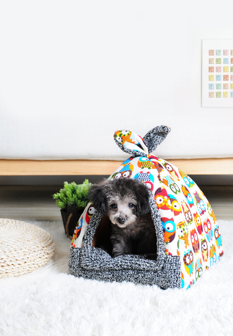 Canine - Cat House Foldable Lovely Printing Warm Cozy for Cats Dogs Nest Collapsible Cat Cave Cute Sleeping Mats Winter Pet Products