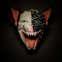 Cat Demon Mask Carving Heavy Color Wall Hanging Demoniacal Statues for Decoration Statuette Bouddha Wood Finer Original Japan