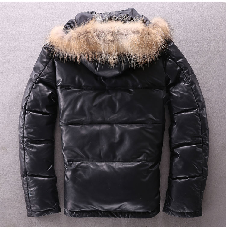 Free Shipping,Plus size mens slim genuine leather jacket.man winter warm 90% duck down coat.thick Sheepskin outwear.Racoon hair