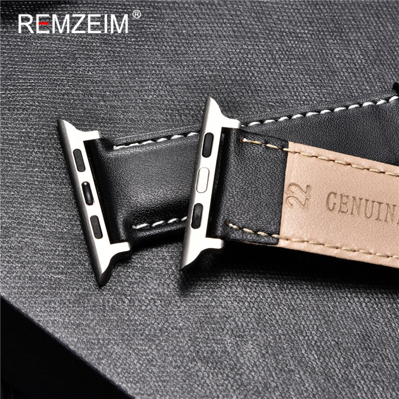 REMZEIM Cowhide Leather Strap for Apple Watch Band 44mm 40mm iwatch 6 5 4 3 2 1 Wristband 42mm 38mm bracelet Watch Accessories