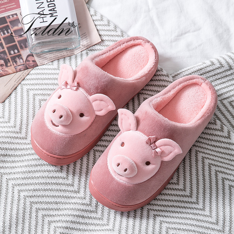 Pink Llama Cute Winter Cotton House Slippers Flat Indoor Slip Room Shoes Slipper For Men Woman