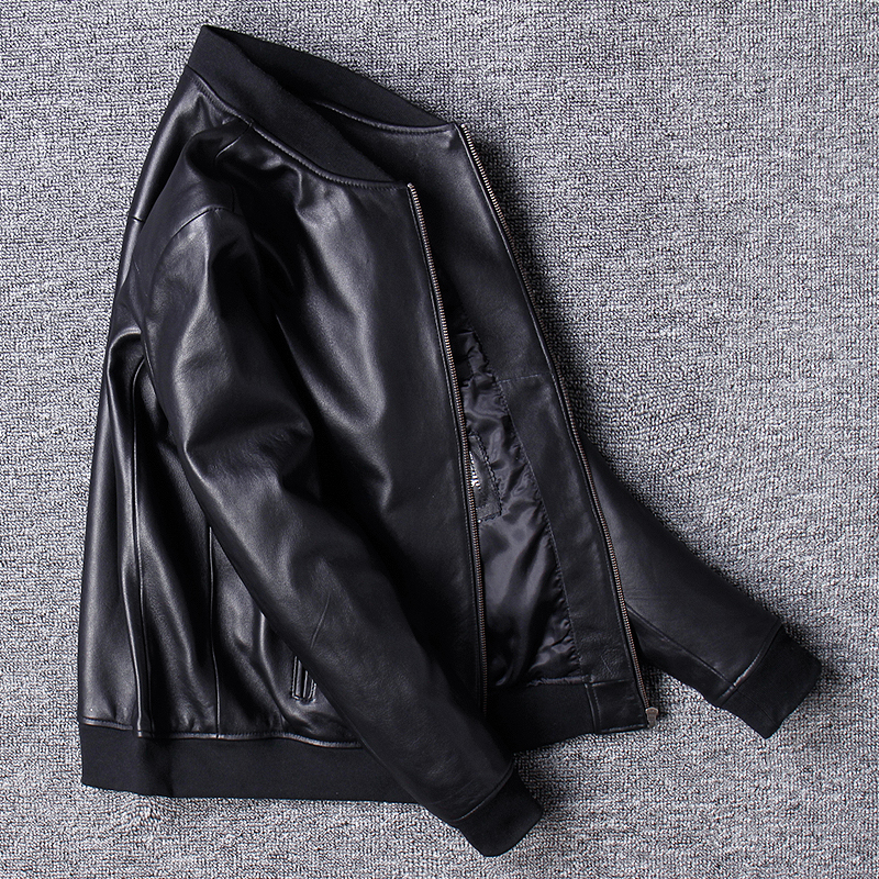 Free shipping.Brand classic man genuine leather coat,soft sheepskin jacket.leather jacket.plus size sales,casual bomber flight