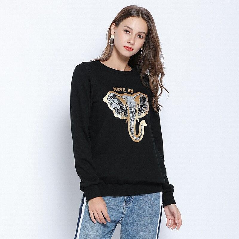 new women autumn winter hoodies animal printed oversize hoodie plus size 5xl black streetwear long sleeve hoody lady Embroidered