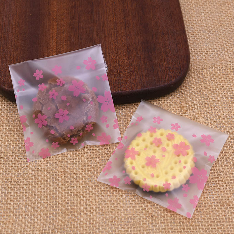 50pcs 7-14cm Lovely Sakura Flower Print Candy Cookies OPP Bags Birthday Party Gift Packing Home Baking Supplies Cellophane Bag